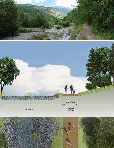 Exemple d'aménagement en bordure de rivière
